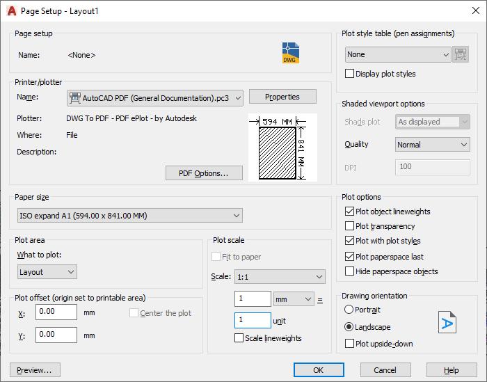 AutoCAD Layout Page Setup